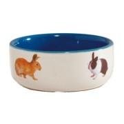 Миска керамическая Beeztees с изображением кролика, голубая