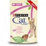Cat Chow для котят Кусочки в соусе с ягнёнком и кабачком