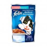 Felix аппетитные кусочки Двойная вкуснятина, лосось и форель в желе